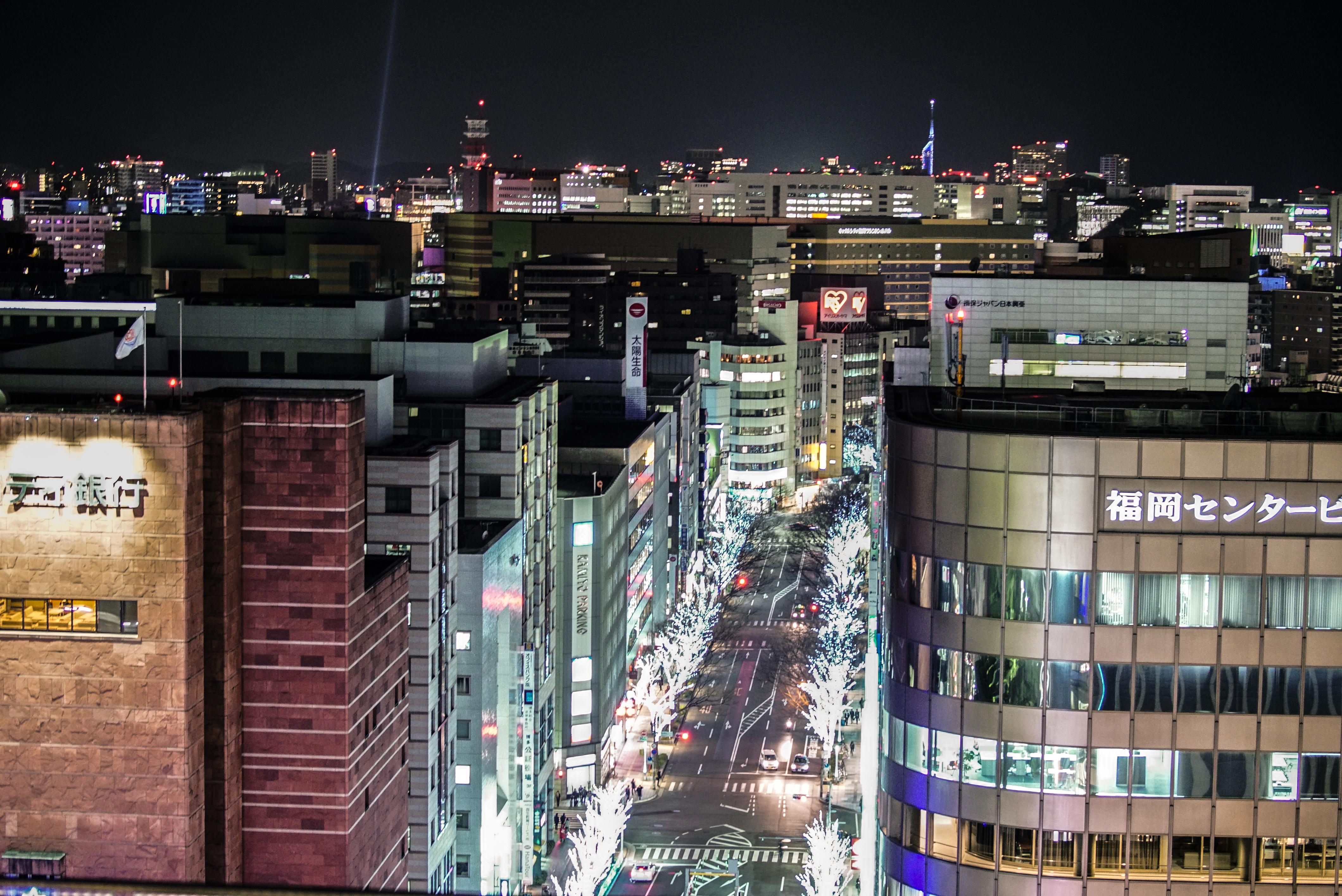 博多駅ビル JR博多シティ 屋上庭園から眺める夜景