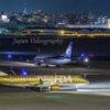 福岡空港 国内線送迎デッキから眺める美しい夜景と飛行機の発着風景